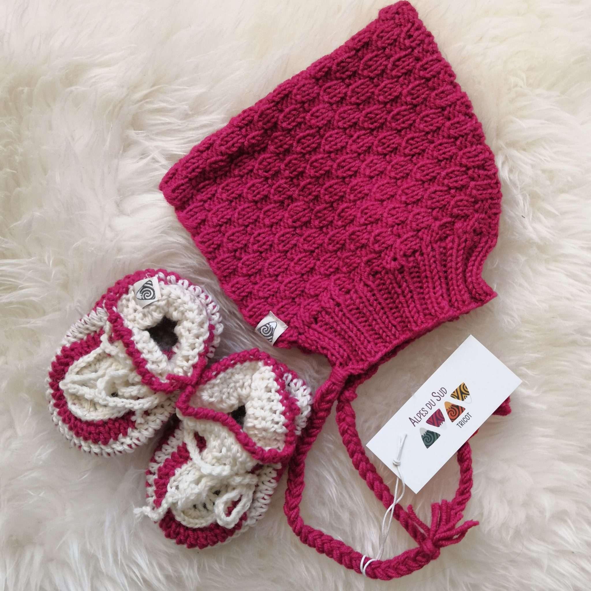 bonnet et chaussons tricot en laine