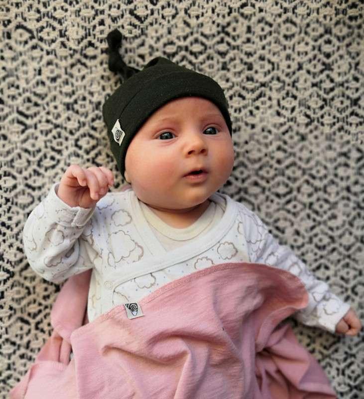 bonnet à noeud bébé vert forêt