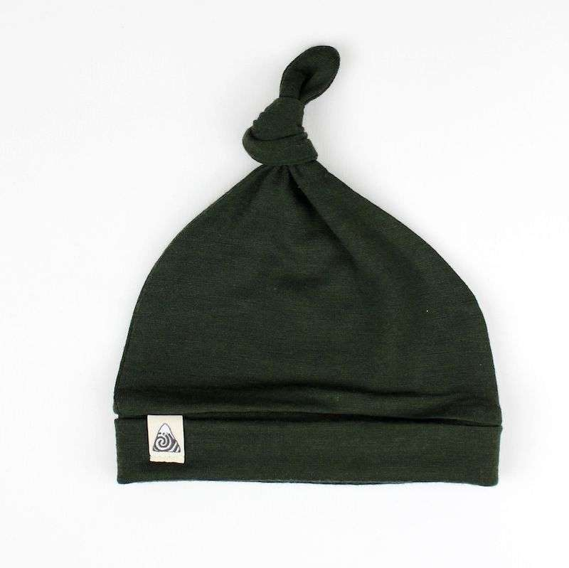 merino baby hat forest green