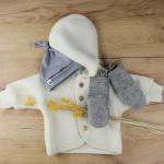 veste laine engel blanc bonnet gris et gants