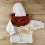 veste laine engel blanc snood brique