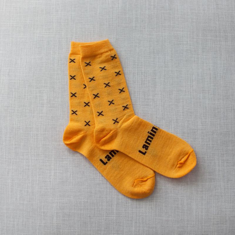 chaussettes en mérinos jaunes et noires