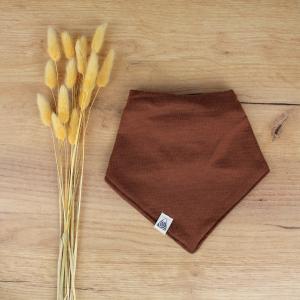 bavoir foulard mérinos fait main chocolat